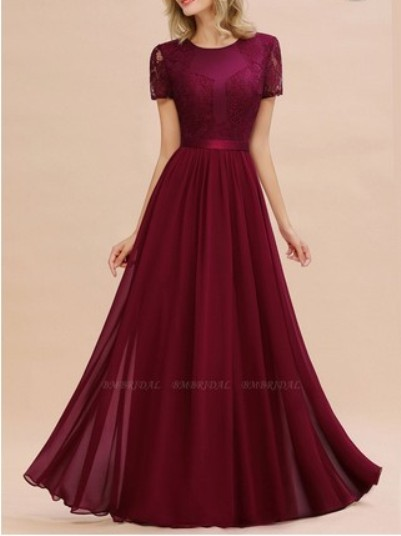 Short Sleeves Lace Bridesmaid Dress– Price: US$ 54.50