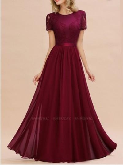 Short Sleeves Lace Bridesmaid Dress– Price: US$ 54.50