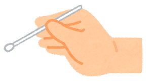 いろいろな綿棒を持つ手のイラスト1