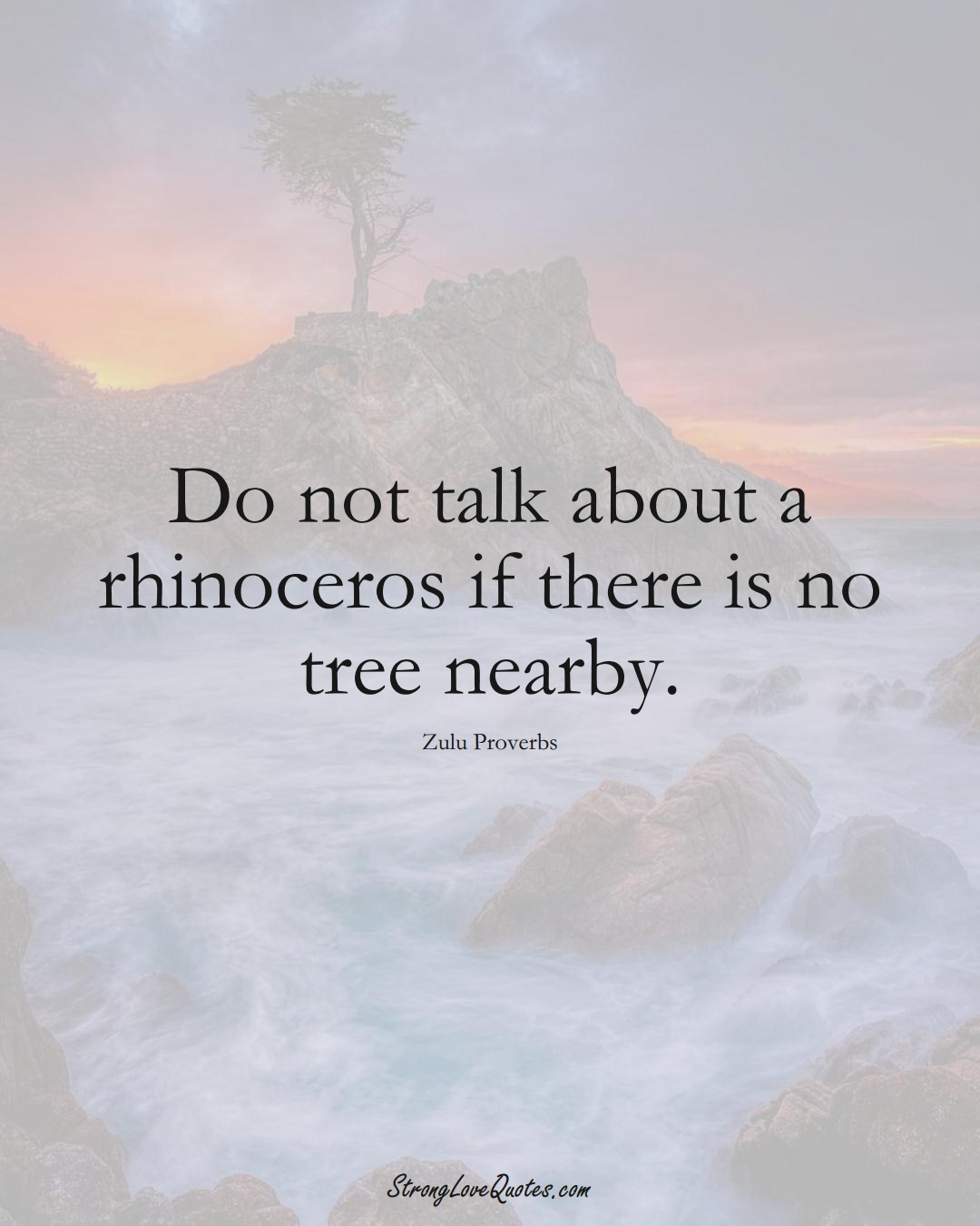 Do not talk about a rhinoceros if there is no tree nearby. (Zulu Sayings);  #aVarietyofCulturesSayings