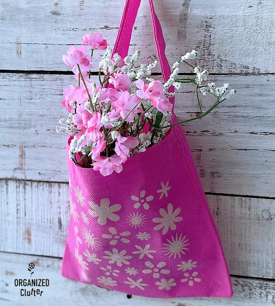 Dollar Tree Stenciled Spring Decor Tote With Faux Florals