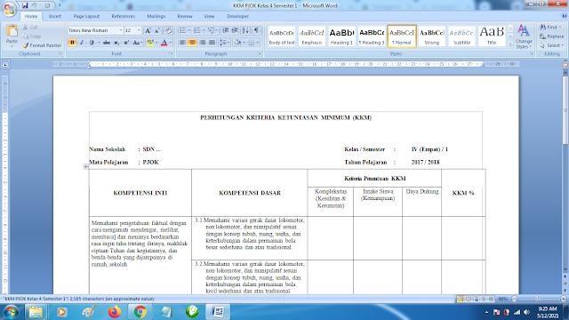 Download Contoh KKM PJOK SD Kelas 4 Semester 1 Kurikulum 2013 doc
