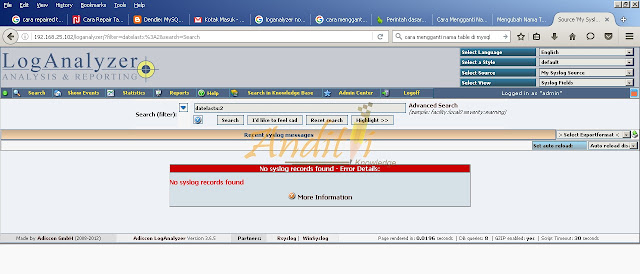 Cara Mengatasi No Syslog Records Found di Loganalyzer-anditii.web.id