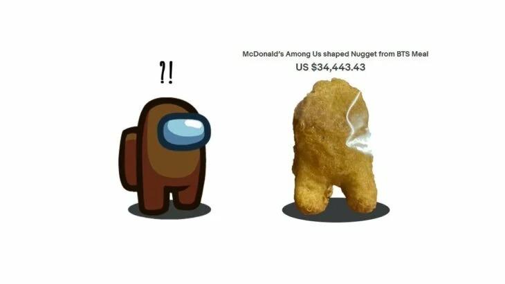Alguien subastó un nugget de pollo de McDonald's que parece monito de 'Among Us'