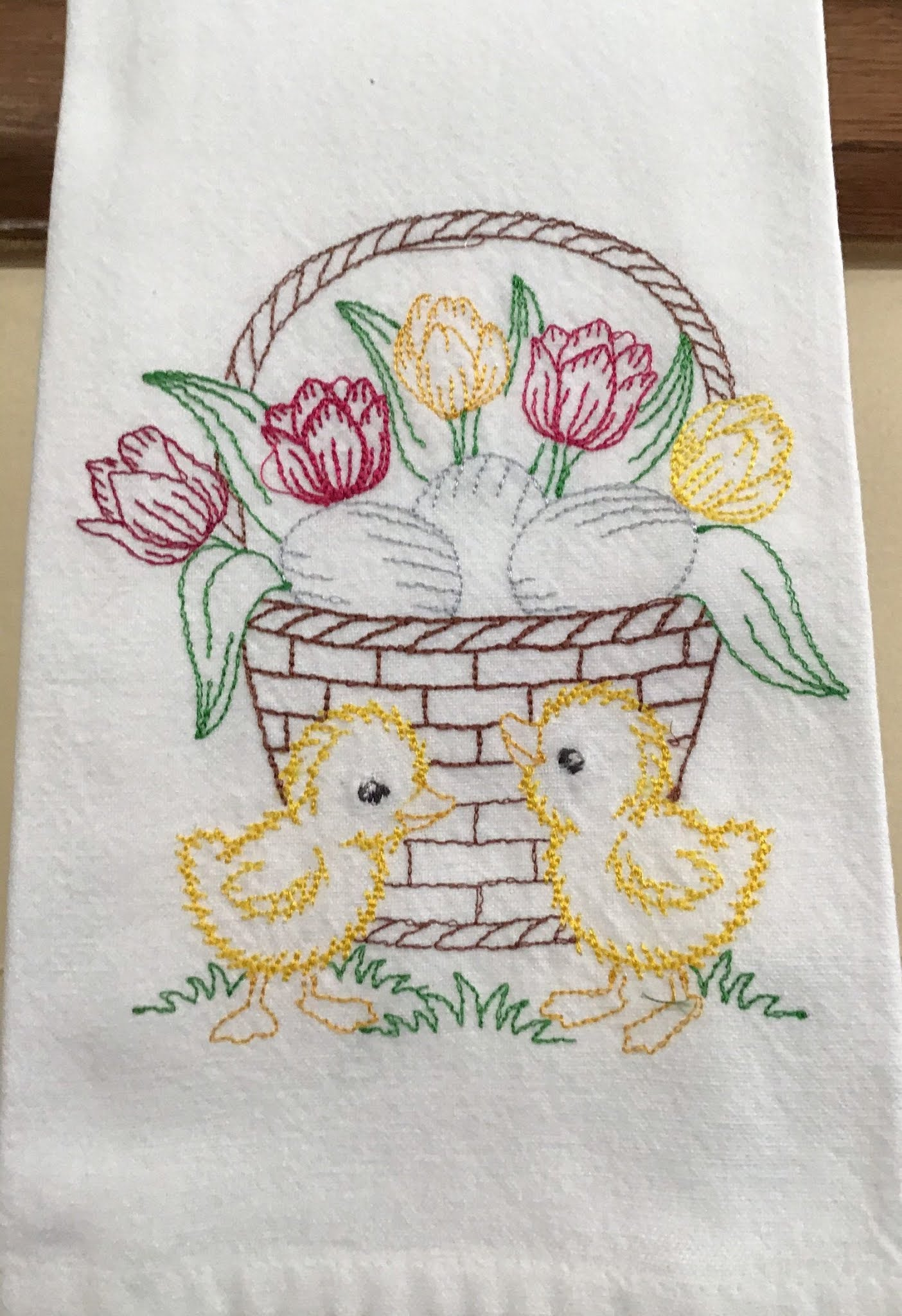 Vintage Emroidered Easter Tea Towel