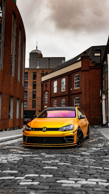 Road, Volkswagen Golf, Yellow, Car, Front View