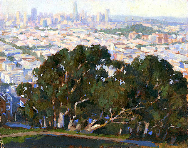 a Brandon Smith painting of a city with trees in a landscape