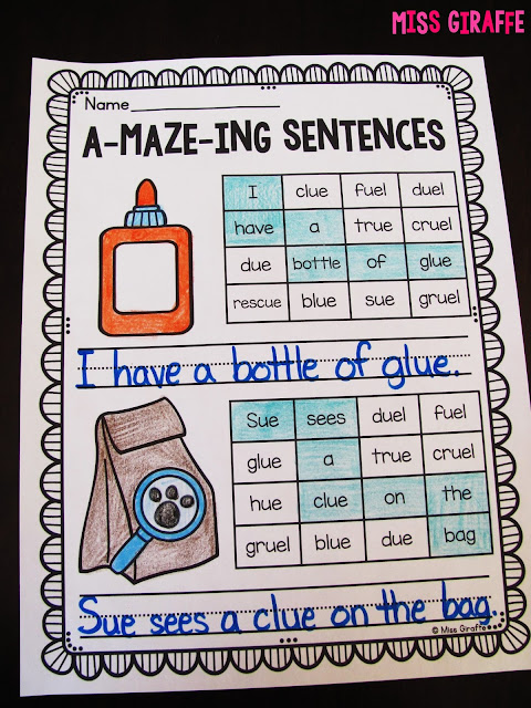 A-maze-ing sentences are the best for challenging your high students or fast finishers... kids read through the maze with words with the phonics sound being practiced to figure out the secret sentence