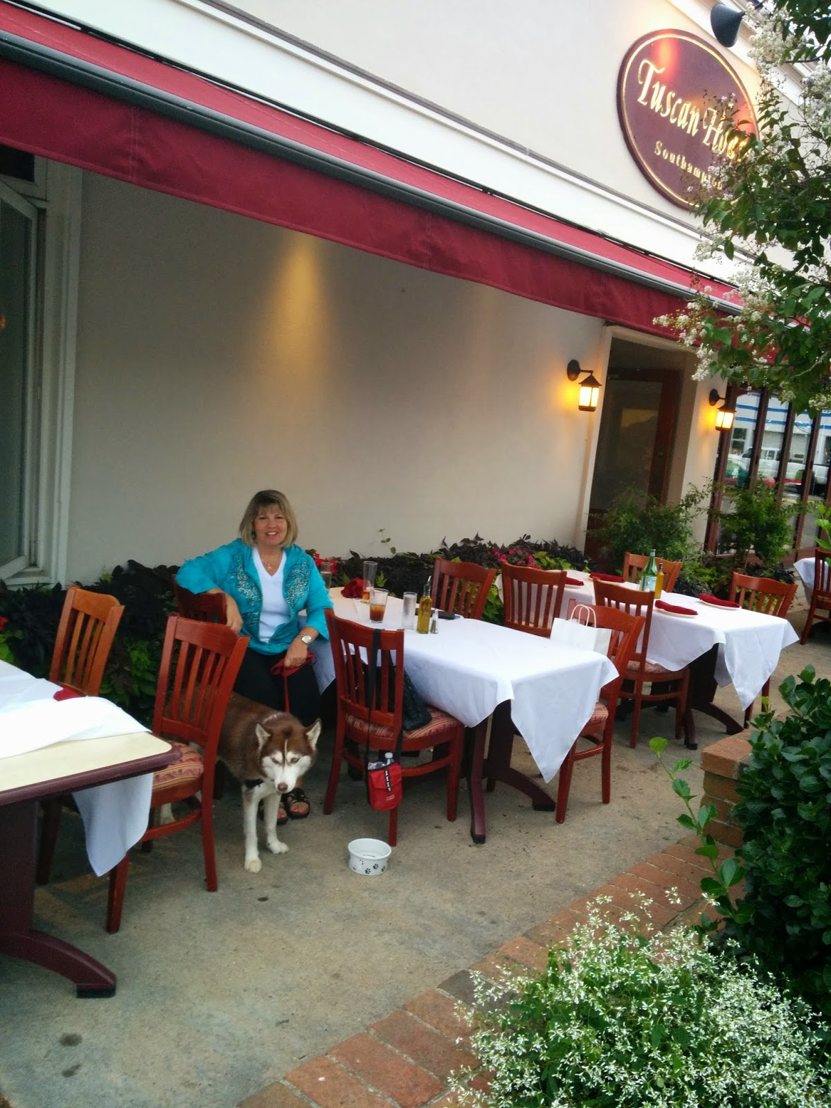 The Tuscan House restaurant in South Hampton, NY has great food, great service, and is very dog friendly