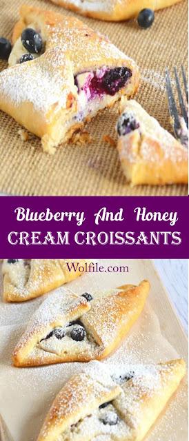 Blueberry & Honey Cream Croissants Recipe #Cake