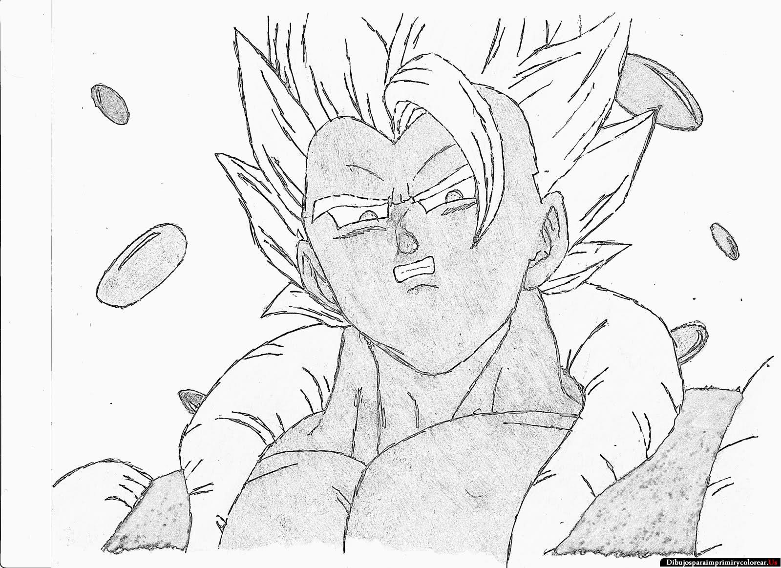 Dibujo De Goku Y Vegeta Para Imprimir Y Colorear: Dibujos De Goku Y Sus Transformaciones Para Colorear