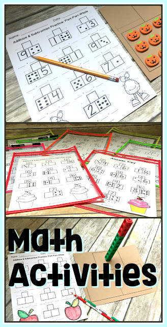 Addition and subtraction activities to use throughout the year in math centers and math workshop.