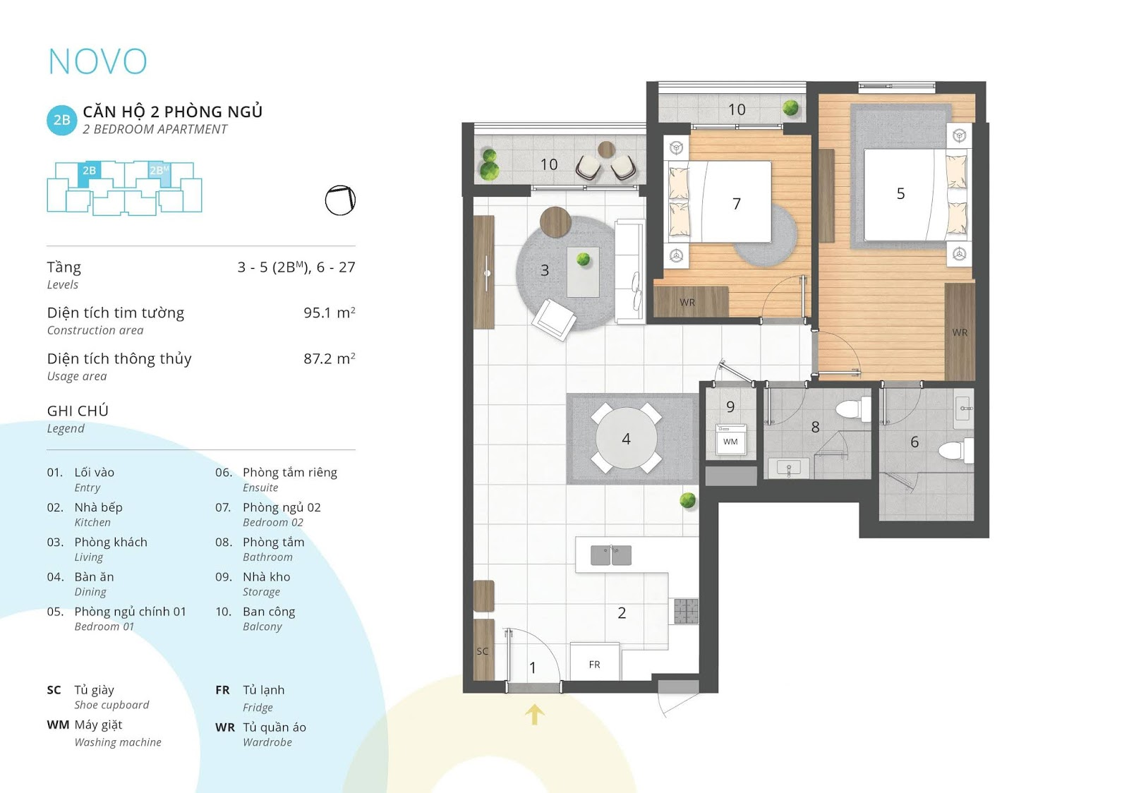 Mặt bằng căn hộ 2 phòng ngủ 87 thông thủy m2 tòa NOVO dự án Kosmo