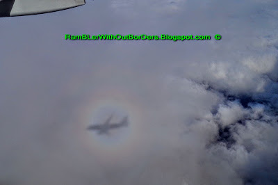 Shadow of our plane with coloured ring of rainbow around it