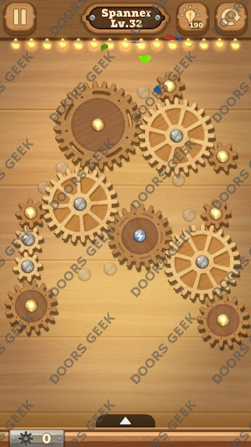 Fix it: Gear Puzzle [Spanner] Level 32 Solution, Cheats, Walkthrough for Android, iPhone, iPad and iPod