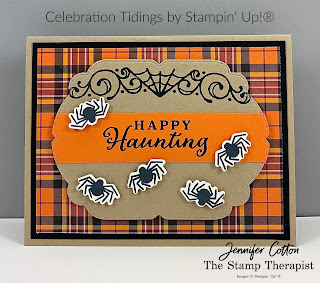 Halloween card with Stampin' Up!'s Celebration Tidings Bundle/Plaid Tidings Suite.  Lots of fun spiders!  #StampinUp #StampTherapist