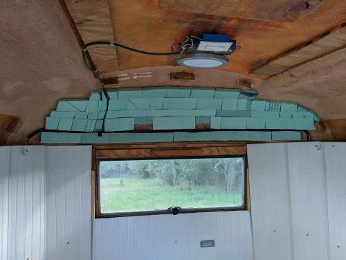 insulation on curved corner of fiberglass trailer