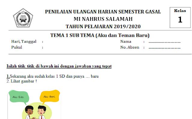 Lengkap Contoh Soal Ulangan Harian Kelas 1 SD/MI Tema 1 Sub Tema Aku dan Teman Bar