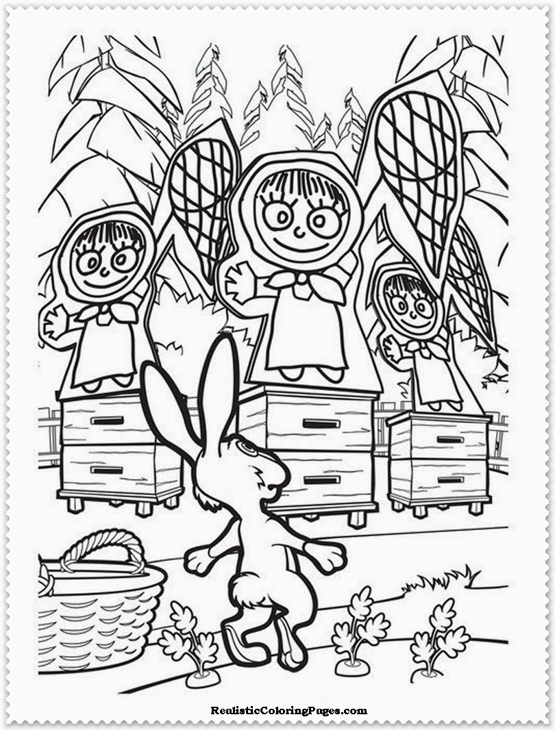 masha with the rabbit coloring pages
