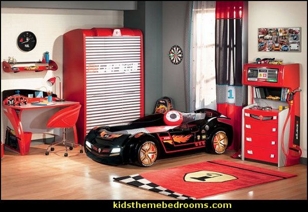 Auto Mechanic Bedroom ideas  garage themed bedroom  racing car themed bedroom furniture