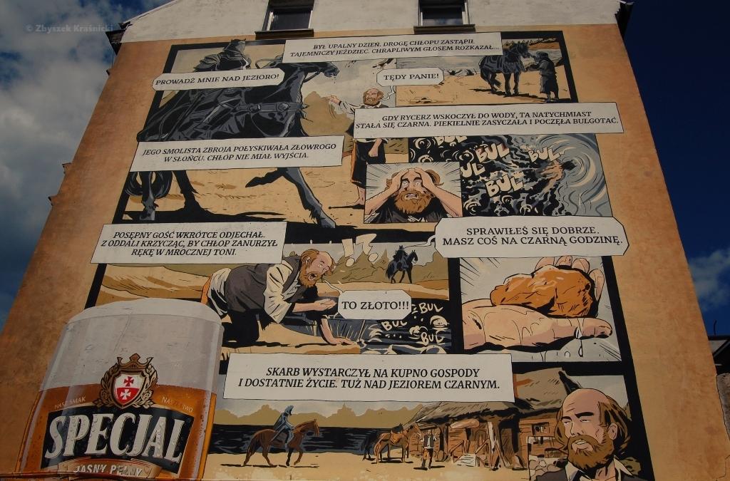 Ostróda, mural na jednej z kamienic