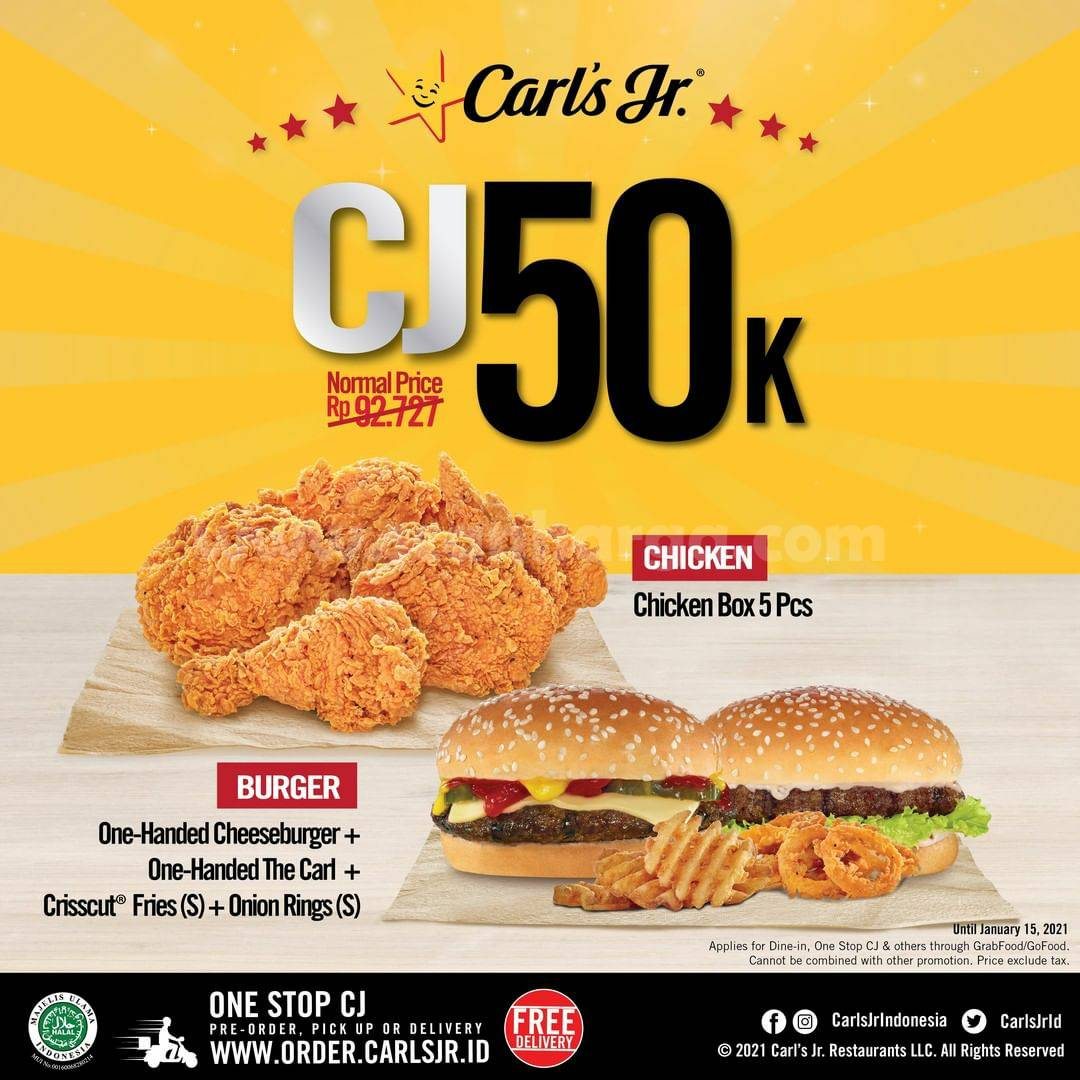 CARLS JR Promo Paket Burger atau CJ Chicken hanya 50K