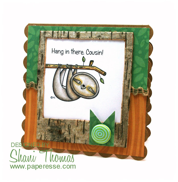 Get Well card featuring 2 Cute Ink Sweet Sloth digital stamp, by Paperesse.