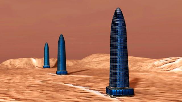 Kỳ lạ 3 tòa tháp thẳng hàng trên sao Hỏa mới được phát hiện