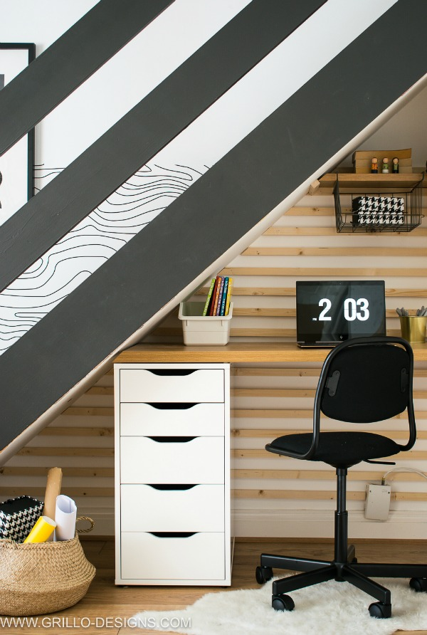 utilize space under stairs for a home office