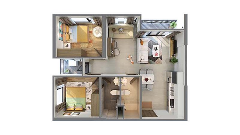 Căn 2 Phòng Ngủ +1