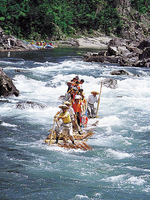 'Timber' rafting on Kitayama River, Kitayama village, Wakayama Pref.