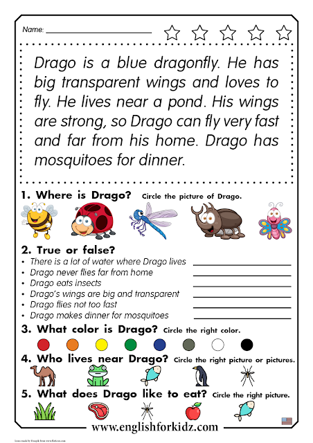 Reading comprehension worksheet for elementary school - printable ESL resources