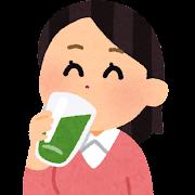 青汁を飲む女性のイラスト