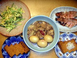 鶏肉と卵の煮込 赤魚粕漬 厚揚 キュウリ玉子