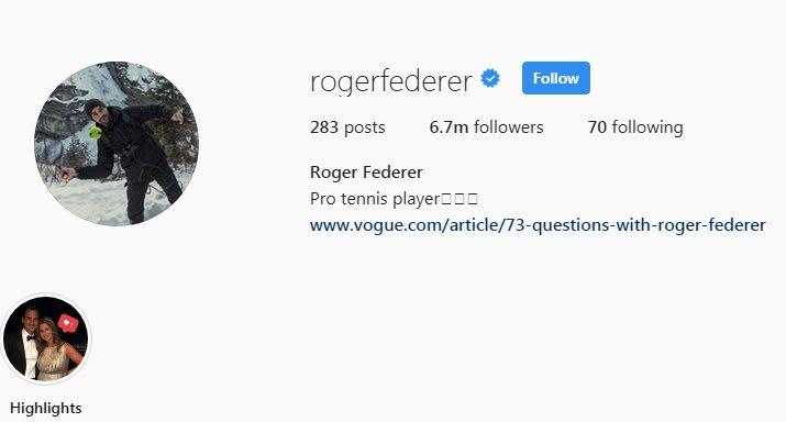 Roger Federer Instagram followers
