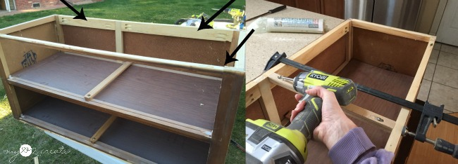 beefing up the top of a dresser cut in half to make it into a bench