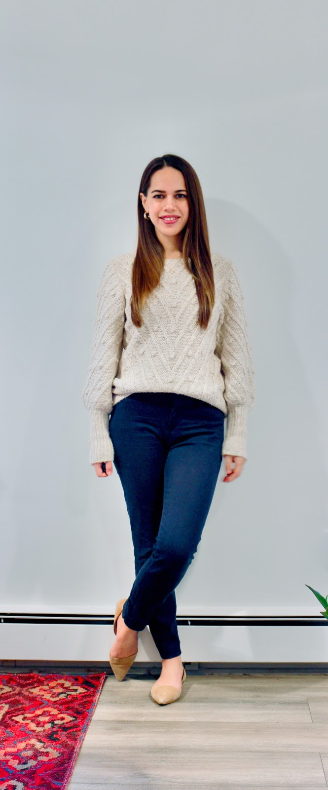 Jules in Flats - Gap Bobble Stitch Pullover Sweater (Business Casual Winter Workwear on a Budget)