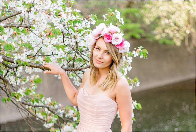 bridal, wedding, bride, makeup, hair, dress, nj photography, cherry blossom, branch brook park, flower crown