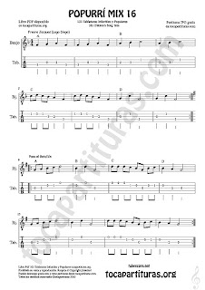 1  Tablatura y Partitura de Banjo Popurrí Mix 16 Partituras de Freere Jacques, Pasa el Batallón, Eram Sam Sam Tablature Sheet Music for Banjo Music Score Tabs