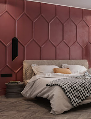 Exquisite bedroom accent wall idea feature modern redwood color paint geometric wall panels