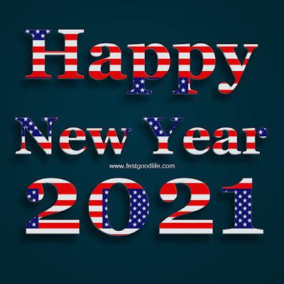 Happy New Year America flag