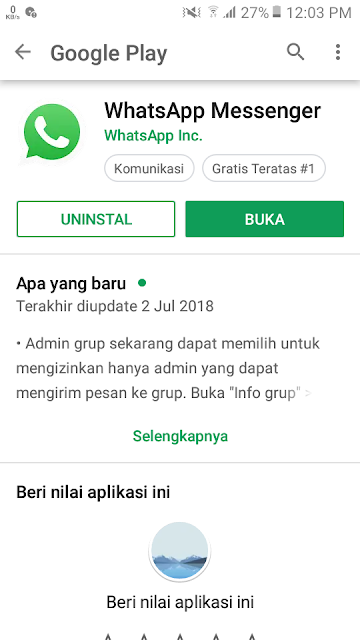 Download aplikasi WhatsApp Messenger di Google Play Store