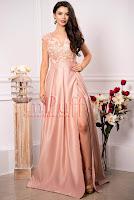 Rochie lunga de ocazie roz prafuit cu broderie florala