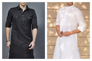 A white and a black kurta with different types of collars.