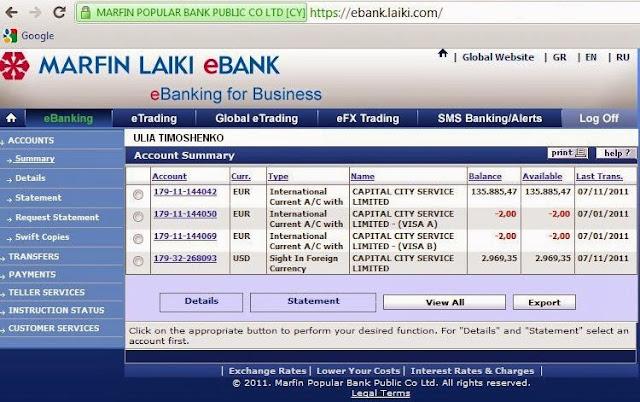 личный кабинет Laiki bank