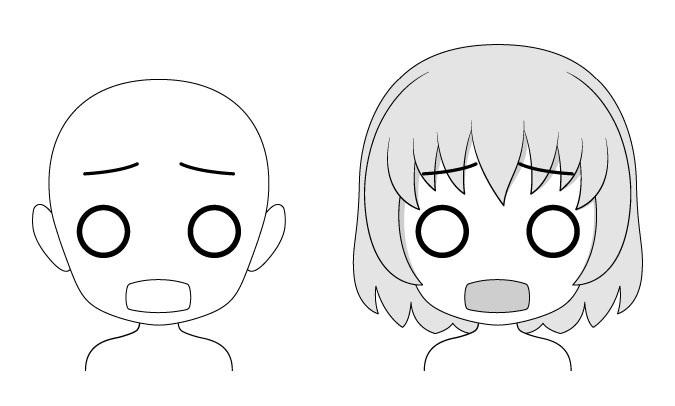 Takut ekspresi wajah anime chibi