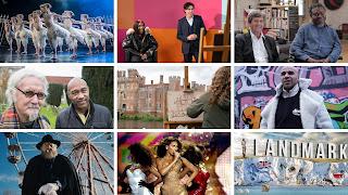 Stills from Sky Arts programming showing ballet, comedy, art, singing etc