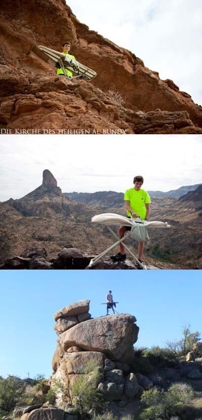 Bügeln lustig auf Berg und Felsen
