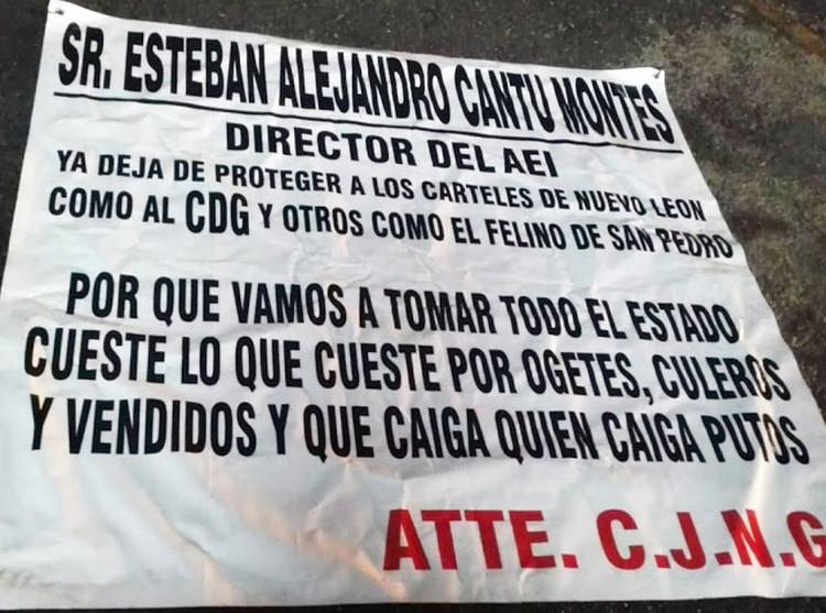 """""""Deja de proteger a los carteles de Nuevo León"""", Sicarios del CJNG amenazan a director del AEI de proteger al CDG."""