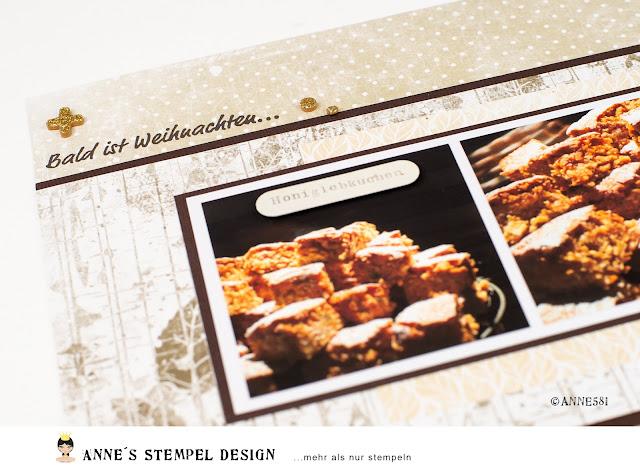 Weihnachtliches Scrapbookinglayout zum Thema Honiglebkuchen-Rezept inklusive Zutaten